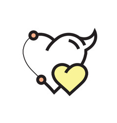 Two heart devil pen tool style yellow vector