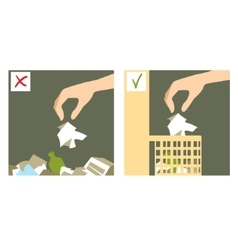 Two images with hand throwing rubbish vector