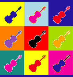 Violine sign pop-art style vector