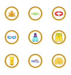 Water recreation icons set cartoon style vector