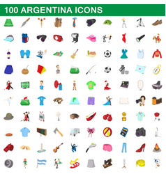 100 argentina icons set cartoon style vector