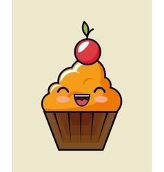 kawaii cup cake cherry sweet design vector image