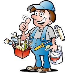 Hand-drawn of an happy painter handyman giving vector