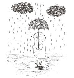 Hand drawn rain umbrella vector
