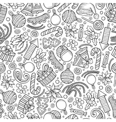 Cartoon cute hand drawn xmass seamless pattern vector