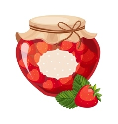 Sweet strawberry red jam glass jar filled with vector