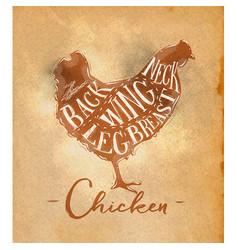 Chicken cutting scheme craft vector