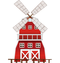 red windmill on white background vector image