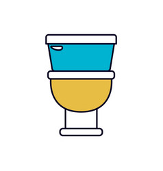 Color sections silhouette of toilet icon in front vector