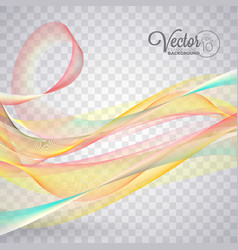 Elegant flowing color wave design on transparent vector