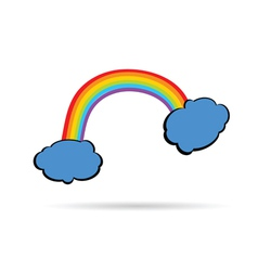 Rainbow between the clouds color vector