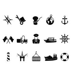 sea port icons set vector image