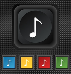 Music note icon sign symbol squared colourful vector