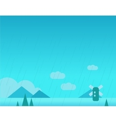 Wallpaper landscape with mountains rain and vector