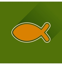 Flat icon with long shadow christian fish vector
