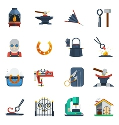 Blacksmith flat color icons set vector