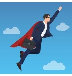 Superhero super successful businessman flying in vector