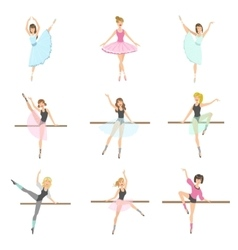 Allet dancers in different poses rehearsing set vector