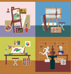 Art studio interiors square concept vector
