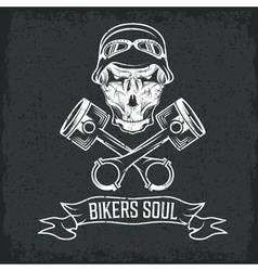Biker theme label with pistons and skulls vector