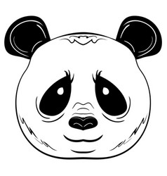 black and white sketch panda face vector image vector image