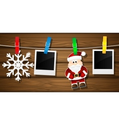 Blank photo frames santa claus and snowflakes on a vector