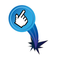 Blue hand cursor with hole icon vector