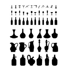bottles glasses and corkscrew vector image