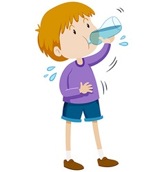 Boy drinking water from bottle vector image