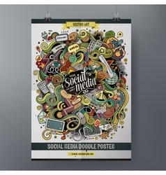 Cartoon hand drawn doodles social poster template vector