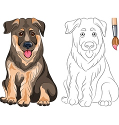 Coloring Book of smiling Puppy Shepherd vector image vector image