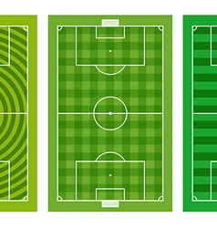 Different green football fields collection vector