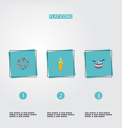 Flat icons firecracker fire wax musical vector