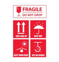 fragile sticker set vector image vector image