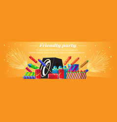 Friendly party banner fireworks for festivals vector