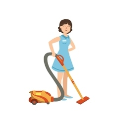 Hotel Professional Maid Cleaning The Floor With vector image vector image