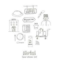 hotel set doodle sketch vector image
