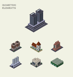 Isometric architecture set of house industry vector