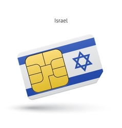 Israel mobile phone sim card with flag vector