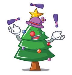 Juggling christmas tree character cartoon vector
