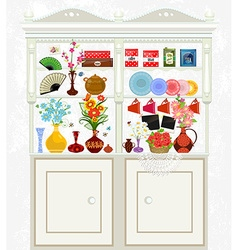 kitchen cupboard with cute flowers for your design vector image