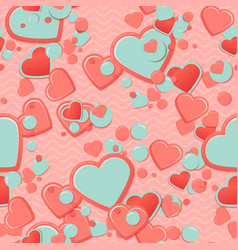 Pink scrapbook paper hearts with circles and vector