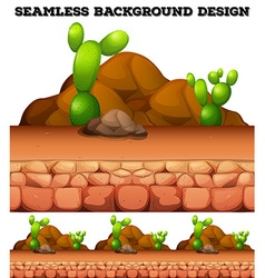 Seamless background with cactus and rocks vector