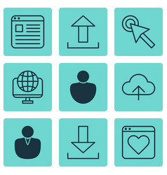 Set of 9 online connection icons includes human vector