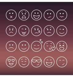 Set of thin line emoticons vector image
