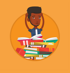 Student sitting in huge pile of books vector