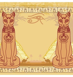 Stylized egyptian cat abstract grunge card vector