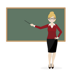 The blond teacher explaining at the blackboard vector
