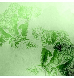 Vintage of green watercolor koala bears on t vector