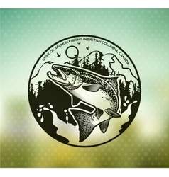 Vintage Salmon fishing emblems vector image vector image